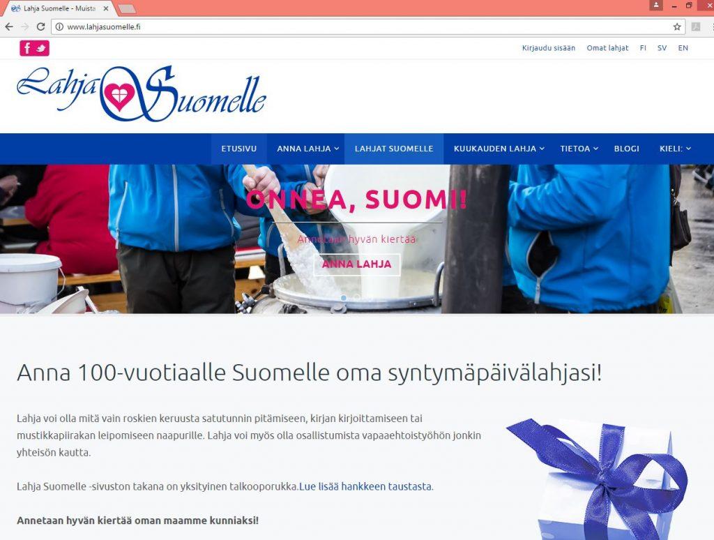 lahja suomelle -verkkosivu