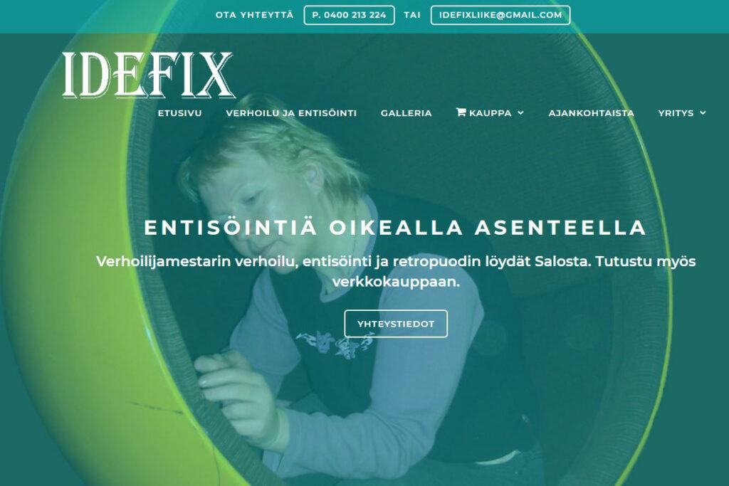 Digipuun rakentama verkkosivusto Idefix.fi